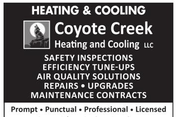 Coyote Creek Heating and Cooling air quality repairs maintenance heating furnace air condition
