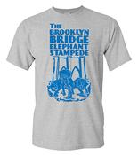 Brooklyn Bridge Elephant Stampede Monument T-Shirt - Gray