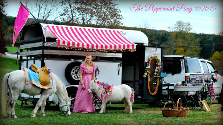 The Peppermint Pony Pink Striped awning, princess, and unicorn party setup