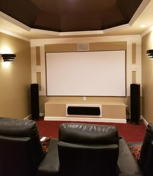 Dedicated Home Theater installed by Carolina Custom Mounts