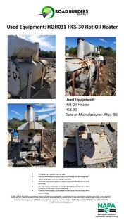 HCS-30 Hot Oil Heater for Asphalt Plants. Built in 1986
