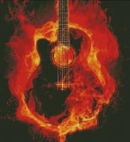Cross Stich Chart Pattern of Flaming Accoustic Guitar