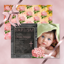 rustic faux wood with vintage hydrangea cross baby girl photo baptism invitations