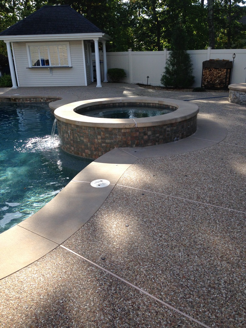 Sealing exposed aggregate pool deck - Bristol County Sealing Company Provides Cleaning Sealing And Restoration Services For Conventional Concrete Exposed Aggregate And Stamped Concrete Alike