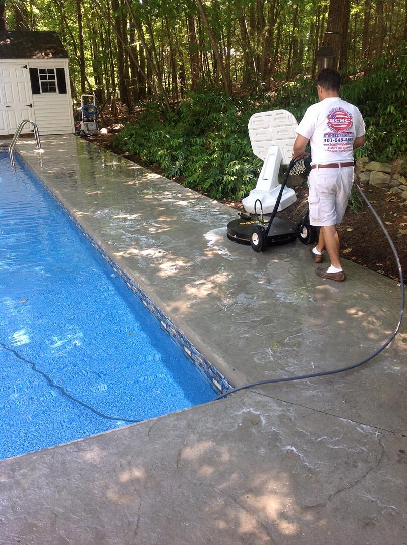 Sealing exposed aggregate pool deck -  888 783 7192