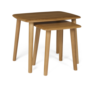 Stockholm nest of tables a lovely pair of nesting tables made from solid oak and oak veneers with smooth curved lines and a satin matt finish to give a perfect retro look watchthetrailerfo