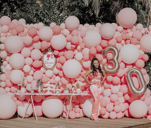 Balloon wall pink backdrop for barbie party dirty thirty birthday