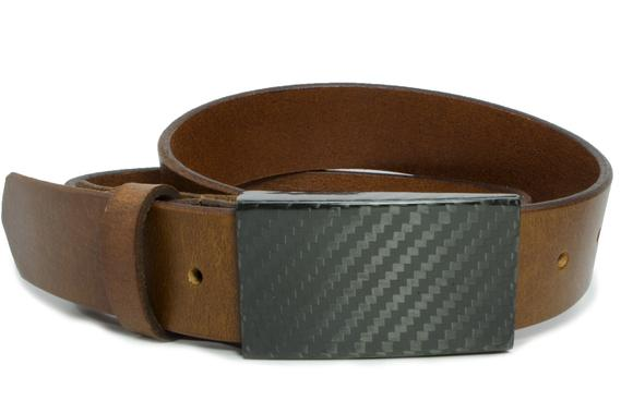 Brown leather strap with metal free carbon fiber buckle - professional look, makes security checks easier!