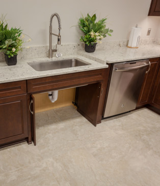 Accessible sink area; folding cabinet doors; accessible sink; pull out faucet