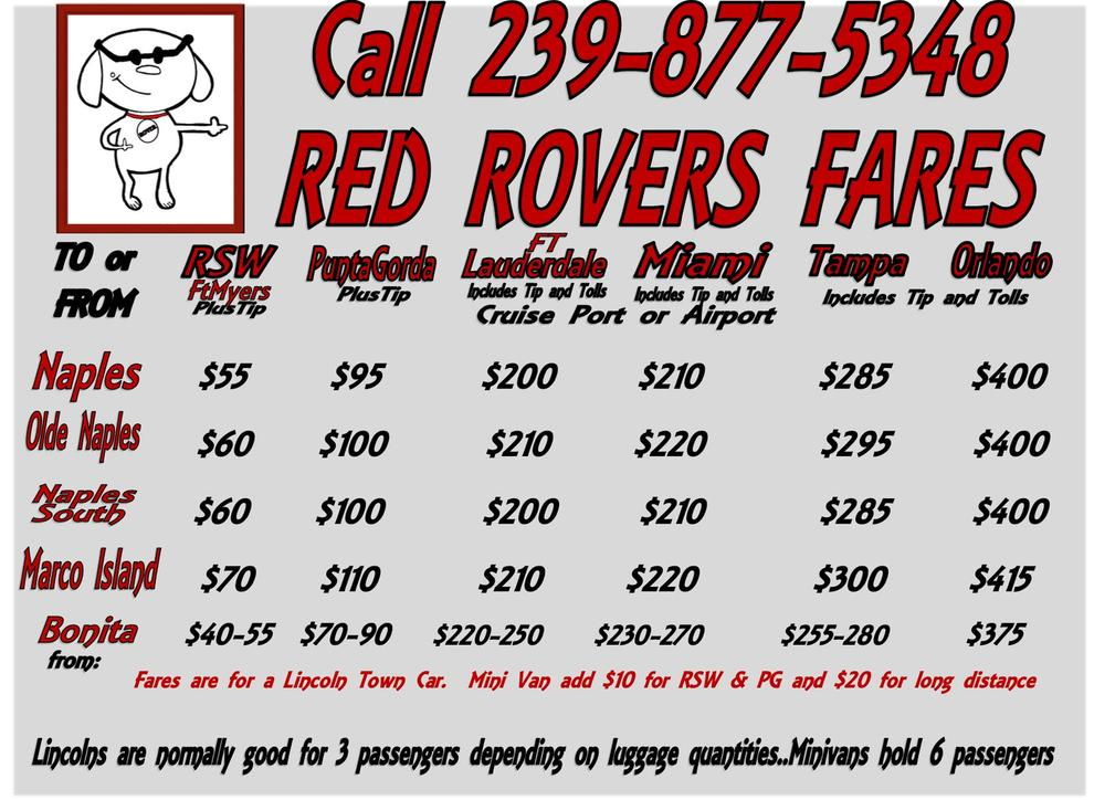 Red Rover Transportation Naples Airport Transportation Prices