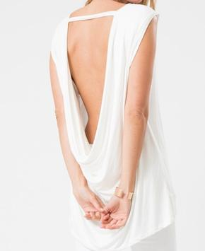 Snow White Open Back Drape Top