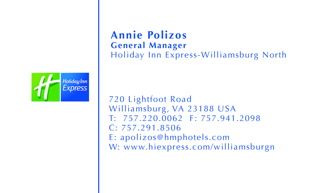 Sample gallery holiday inn express business card reheart Gallery