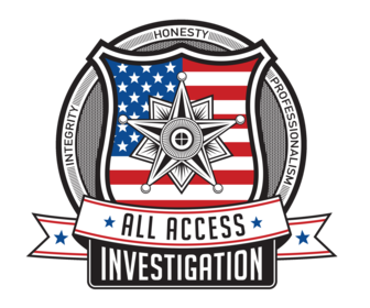 All Access Investigation logo with a badge and american flag pattern in the badge