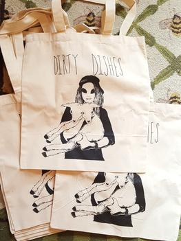 Dirty Dishes Band T Shirt Tote Bag Alien
