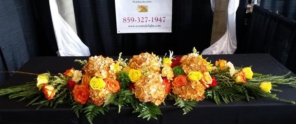Orange Yellow Peach Head Banquet Table Floral Design Autumn