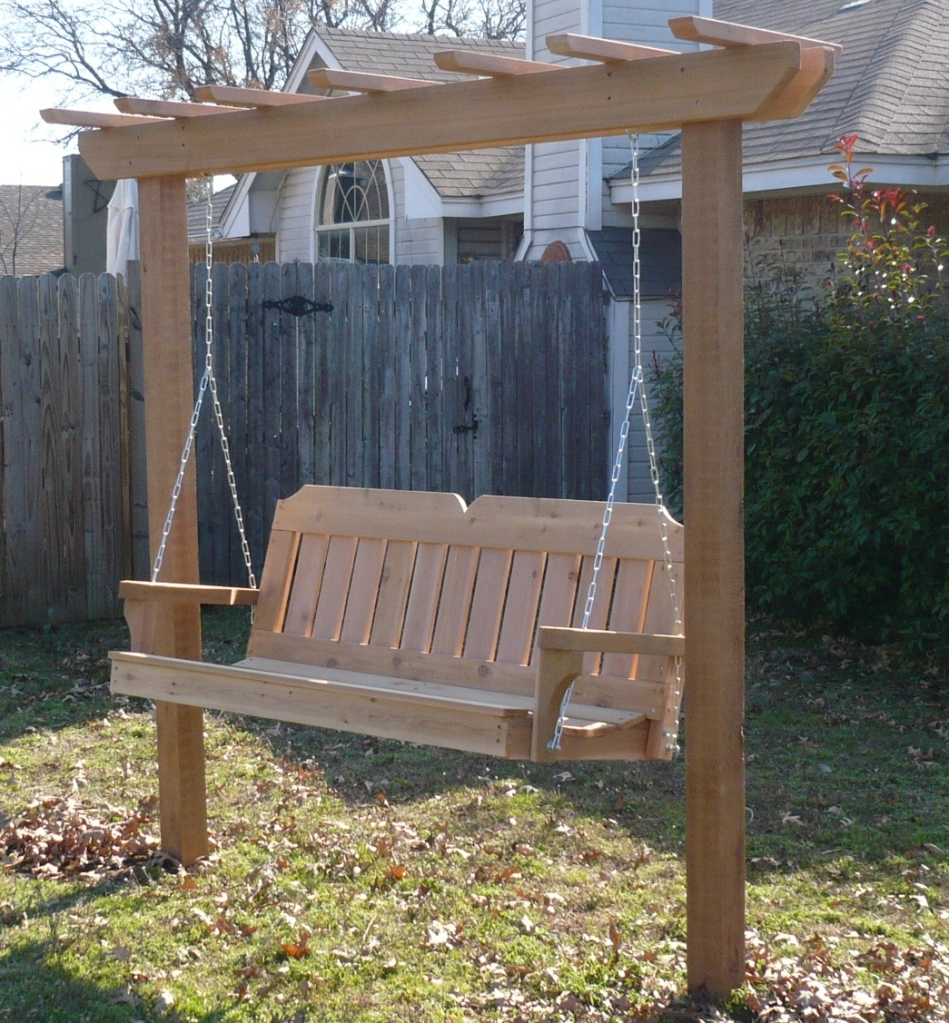 swings with swing outside outdoor swinging size pergola bed