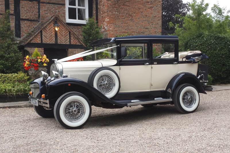 Badsworth landaulette saloon blue ivory Essex hire from Essex Wedding Cars