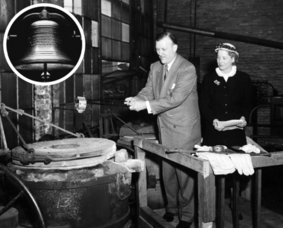 Maryland Gov. Theodore McKeldin and Mrs. A. Felix DuPont in 1953 pour the metal made from melted chains used to restrain people with mental illnesses to create the Mental Health Bell.
