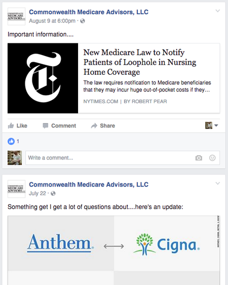 Commonwealth Medicare Advisors Facebook page