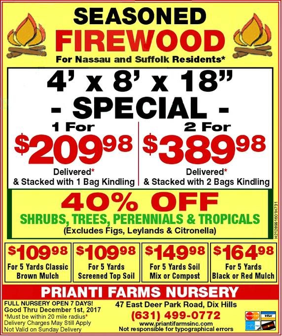 Prianti Firewood Delivery Seasoned Long Island Special Sale