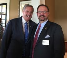 Rep. Mark Meadows with NC Senator Chuck Edwards and County Commissioner Grady Hawkins in the background at a recent GOP Fundraiser at Kenmure.