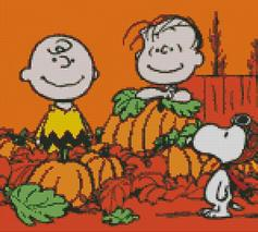 Cross Stitch Chart of Charlie Brown and Snoopy at Halloween