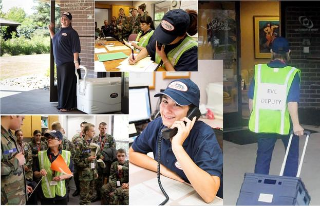 collage of images depicting volunteers answering phones, toting coolers and supplies.