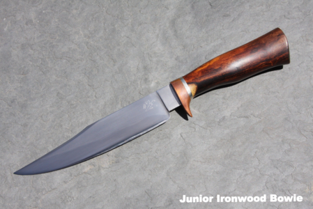 Hand-Forged Junior Ironwood Bowie With Copper Guard & Leather Sheath