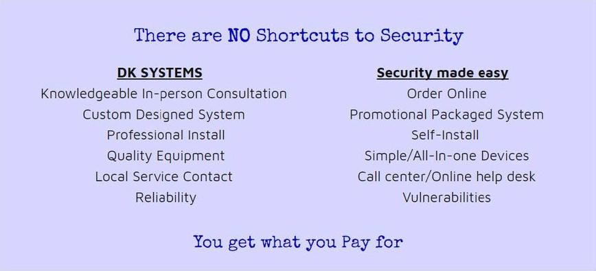 There are No shortcuts to Security: DK SYSTEMS: Knowledgeable In-person Consultation, Custom Designed System, Professional Install, Quality Equipment, Local Service Contact, Reliability Security made easy: order online, promotional packaged system, self-install, simple/all-in-one devices, call center/online help desk, vulnerabilities You get what you pay for