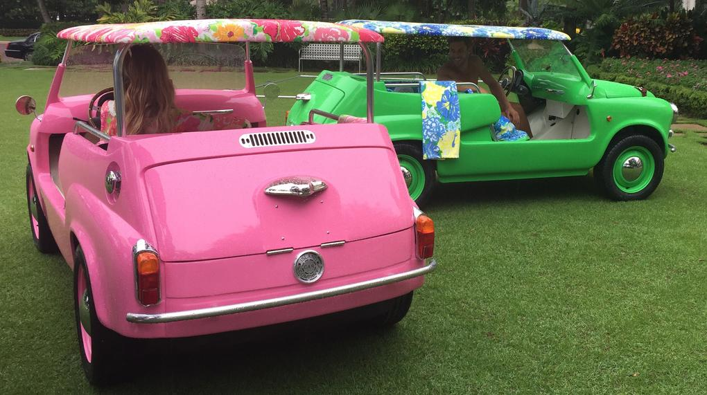 Pink and Green Island Cars
