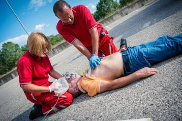 Paramedics with CPR training saving man in Orange County, CA