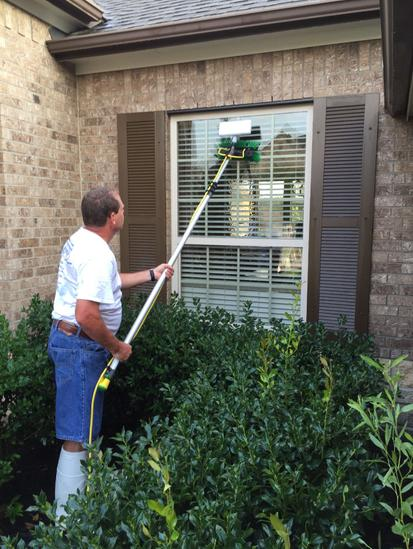 window cleaning with water fed pole