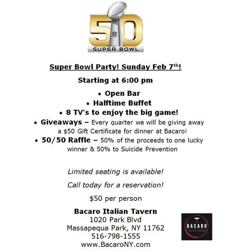 Massapequa Super Bowl Specials! Restaurants and Bars