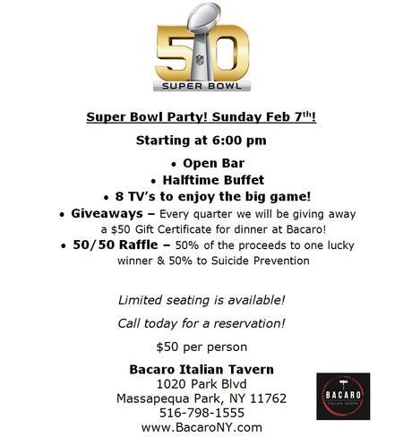 Massapequa Super Bowl Specials! Restaurants and Bars
