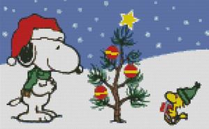 Cross Stitch Chart of Snoopy and Woodstocks Christmas Tree