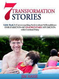 Cover of Little Book 1 about self-confiden ce for parents of elementary students with CP: Father and son in swimming pool.
