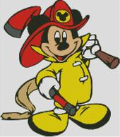 Cross Stitch Cahrt of Fireman Mickey Mouse