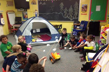 make believe campfire with preschool kids