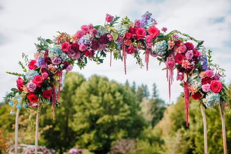 Wedding arch flowers. Bright, bold, colorful blooms.