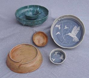 hand thrown and glazed small candle/soap plates