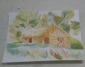 House and Landscape in Watercolor