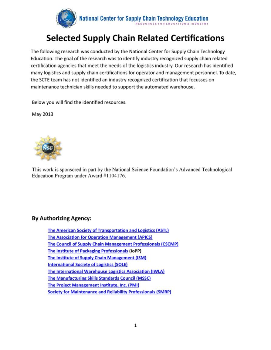 White Papers Selected Supply Chain Related Certifications