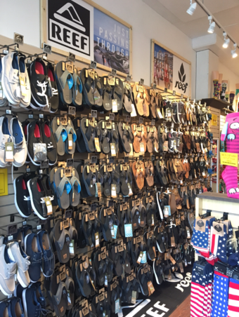 Reef sandal wall display