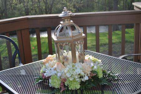 Pink and White Lantern Wedding Party Floral Centerpiece Spring Summer