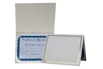 award certificate in white photo folder with foil imprinting