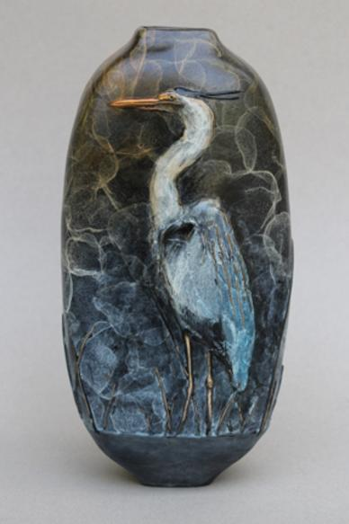 Great Blue Heron vase, side 1