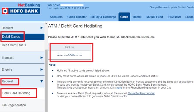 How To Block Lost Hdfc Debit Card