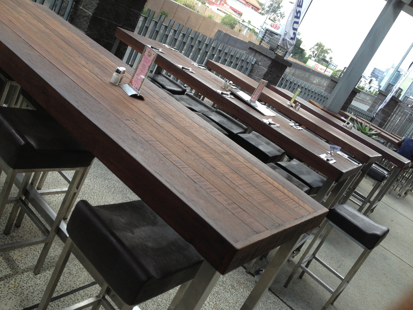 Recycled furniture rustic timber tables restaurants gold coast