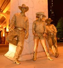 Living Statues-Golden Cowboys at a Corporate Event