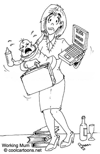 cartoon working mum character
